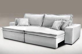 Sofa Retrátil E Reclinável Com Molas Cama Inbox Premium 2,12m Tecido Em Linho Cinza Claro