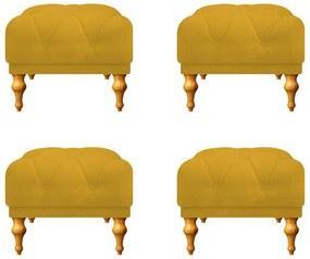 Kit 04 Puffs Decorativos Dani  Suede Amarelo - ADJ Decor