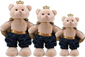 Kit 3 Peças Ursos Soft Pequeno, Médio e Grande Príncipe Capa Cetim Marinho e Dourado com Coroa