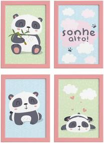 Quadros Infantis Animais Panda Moldura Rosa 22x32cm Kit 4un