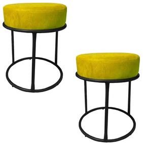 Kit 2 Puffs Decorativos Redondos Luxe Base de Aço Preta Suede Amarelo - Sheep Estofados - Amarelo