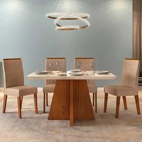 Mesa de Jantar Talía 120cm Rústico Terrara Off White + 4 Cadeiras Cássia Linho Saara