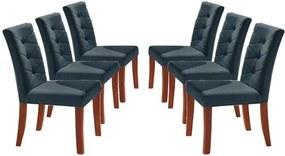 Kit 6 Cadeiras de Jantar Estofada Azul em Veludo Sirt