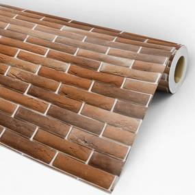 Papel de parede adesivo tijolo marrom