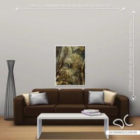 Quadro Abstrato Gold - Médio 86cm x 65cm, Tela + Moldura Branca