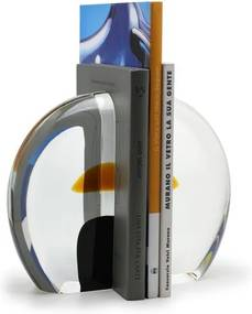 Porta Livros Redondo Fumê com aplicação Âmbar Murano Cristais Cadoro