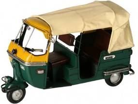Miniatura Decorativa Tuc Tuc Delhi de Metal Verde e Amarelo
