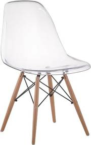 Cadeira Eames Eiffel Base Madeira - Transparente