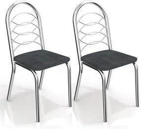 Kit de Cadeiras com 2 Unidades para Copa, Cromada, Preto Linho Cinza, Amsterdam III