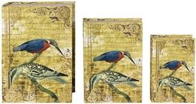 Conjunto com 3 Caixas Livro 2 Pássaros Fundo Dourado