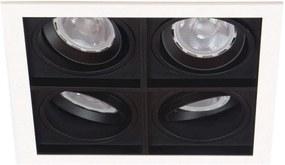 Plafon Embutir Quadruplo Aluminio Branco Preto Par20 Quadra