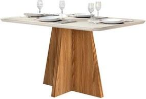 Mesa de Jantar Talía para 4 Cadeiras com Tampo Curvo 136cm Carvalho Nobre Off White