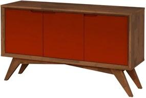 Buffet Serafim 3 Portas Pinhão e Marrom - Wood Prime MP 27633