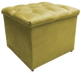 Puff Baú Decorativo Buzios Capitonê Suede Amarelo