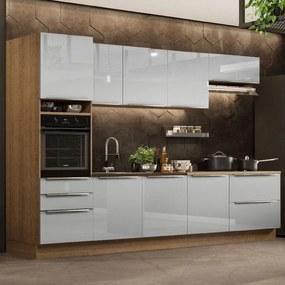 Cozinha Completa Madesa Lux 320004 com Armário e Balcão - Rustic/Cinza Cinza