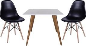 Conjunto Mesa Square Quadrada Branco Fosco 90x90cm + 2 Cadeiras Eiffel Preta
