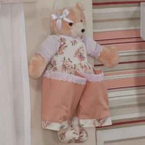 Ursa Porta Fraldas Lacinho Floral Salmão