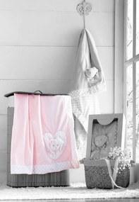 Edredom Infantil Baby Bordado com Aplique Ursinho Rosa Jolitex 75x100cm