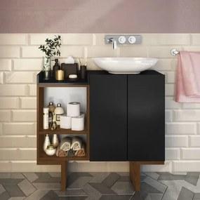 Gabinete para Banheiro Set 2 Portas e 2 Nichos - Preto/Castanho