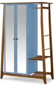 Armario Multiuso Stoka 2 Portas Azul Claro Estrutura Amendoa 169cm - 60976 Sun House