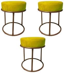Kit 3 Puffs Decorativos Redondos Luxe Base de Aço Cobre Suede Amarelo - Sheep Estofados - Amarelo