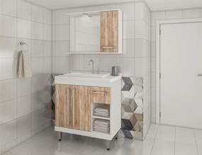 Conjunto de Banheiro Linha Eleganza C00850 Branco/Carvalho
