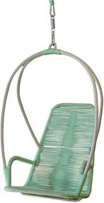 Poltrona de Balanco Paris Estrutura Aluminio Revestida em Corda cor Verde Agua - 51892 Sun House