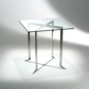 Mesa Lateral Barcelona Aço Inox e Vidro Cristal Studio Mais Design by Mies Van Der Rohe