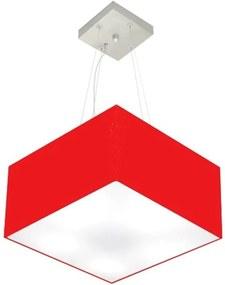 Lustre Pendente Quadrado Md-4005 Cúpula em Tecido 21/35x35cm Vermelho - Bivolt
