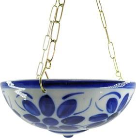 Vaso Cuia Suspensa em Porcelana Azul Colonial 10,5 cm