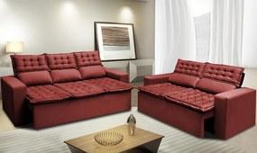 Conjunto De Sofá 3 E 2 Lugares Retrátil E Reclinável Cama Inbox Slim 2,00x1,50m Velusoft Vermelho