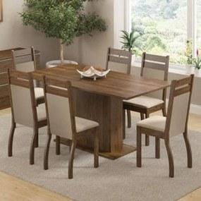 Conjunto Sala de Jantar Madesa Versalhes Mesa Tampo de Madeira com 6 Cadeiras Rustic/Crema/Pérola Cor:Rustic/Crema/Pérola