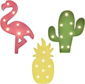 Jogo 3 Placas Luminosa Abacaxi Cacto Flamingo Luminária Led