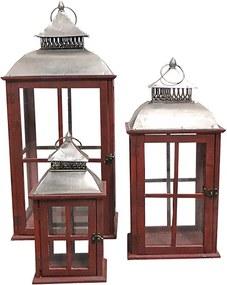 Conjunto com 3 Lanternas Vermelhas de Madeira