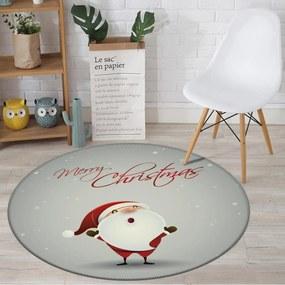 Tapete de Natal Redondo Feliz Natal com Papai Noel Cinza 94cm