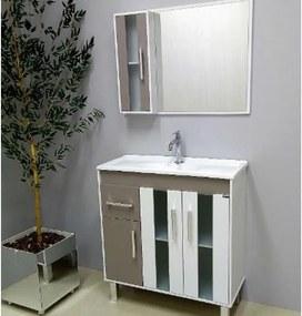 Conjunto de Banheiro São João Lisboa, Branco e Taupe 80 cm