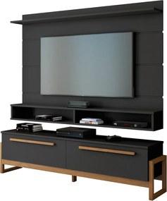 Painel Gamma para TV até 60'' e Rack Bancada Libra Sala de Estar Preto/Amêndoa - Gran Belo