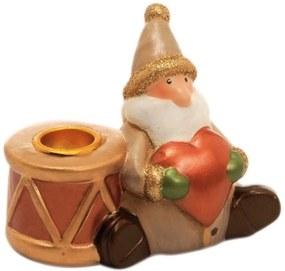 Porta Vela Coração Decoração Natalina 6x8 Cm Bege Cerâmica