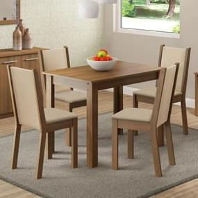 Conjunto Sala de Jantar Madesa Cíntia Mesa Tampo de Madeira com 4 Cadeiras Rustic/Crema/Pérola Cor:Rustic/Crema/Pérola