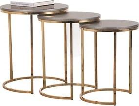 Conjunto de Mesas Laterais Escarlate em Aço Carbono - Gold/Cinza