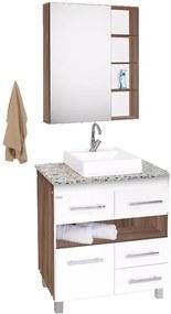 Conjunto de Banheiro Fabribam Argos, 80 cm, Nogal e Branco