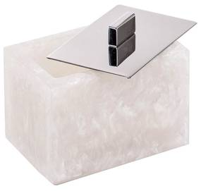 Porta Cotonete Retangular em Madrepérola - Branco  Inox