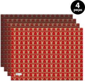 Jogo Americano Mdecore Natal Renas 40x28 cm Vermelho2pçs