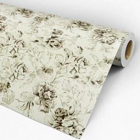Papel de parede adesivo floral vintage verde
