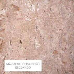 Mesa de Centro Alça 75cm Aço Dourado/Mármore Travertino Escovado - Gran Belo