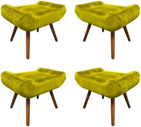 Kit 4 Puffs Decorativos Muu Pés Palito Suede Amarelo - Sheep Estofados - Amarelo