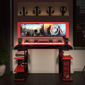 Mesa Gamer P/ Computador C/ Elemento Vazado Metal E Madeira | Tam: 135x60|Cor: Vermelho