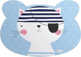 Tapete PET Mdecore Urso Gato Azul54x39cm