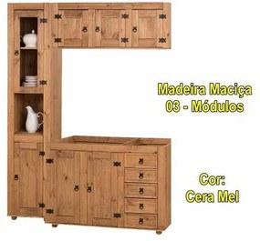 Cozinha Compacta Rústica com 3 Módulos - Madeira Maciça - Cera Mel
