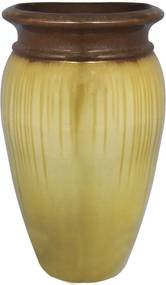 Vaso Vietnamita em Cerâmica Beje e Marrom Kaizuka